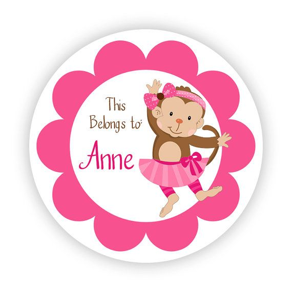 name tag stickers cute pink little girl mod monkey personalized