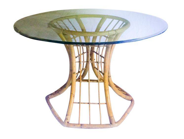 Ordinaire Mid Century Rattan Table Base W/Beveled Glass