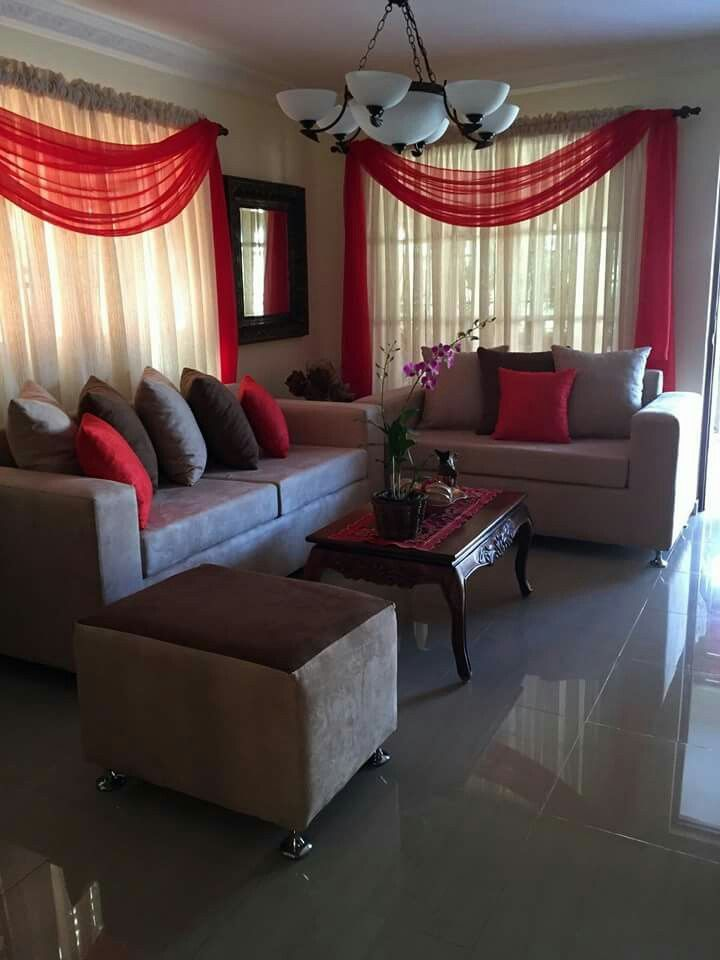 Red And Beige Living Room