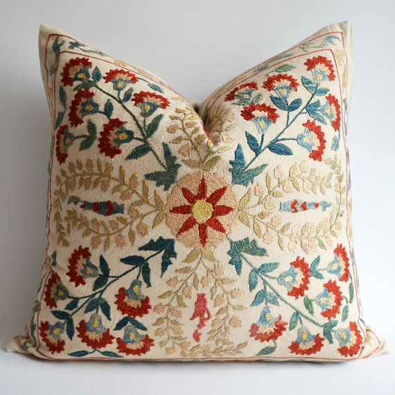 sukan / 1 Hand Embroidered Silk Suzani Pillows Organic by sukan