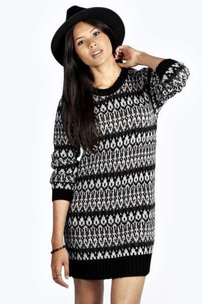 Lorena Soft Laguna Knit Fairisle Jumper Dress at boohoo.com ...