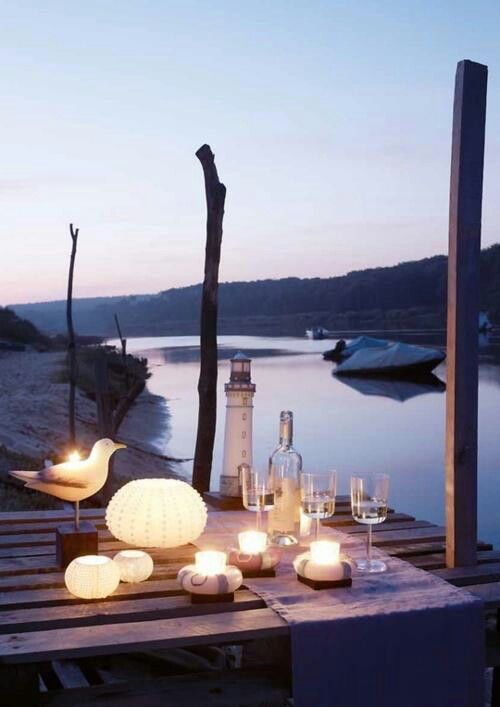 candle light dinner by the lake