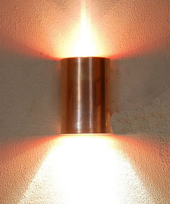 Half Cylinder Brass Copper Or Stainless Wall Sconce Up Etsy Sconce Lighting Copper Wall Light Wall Sconces