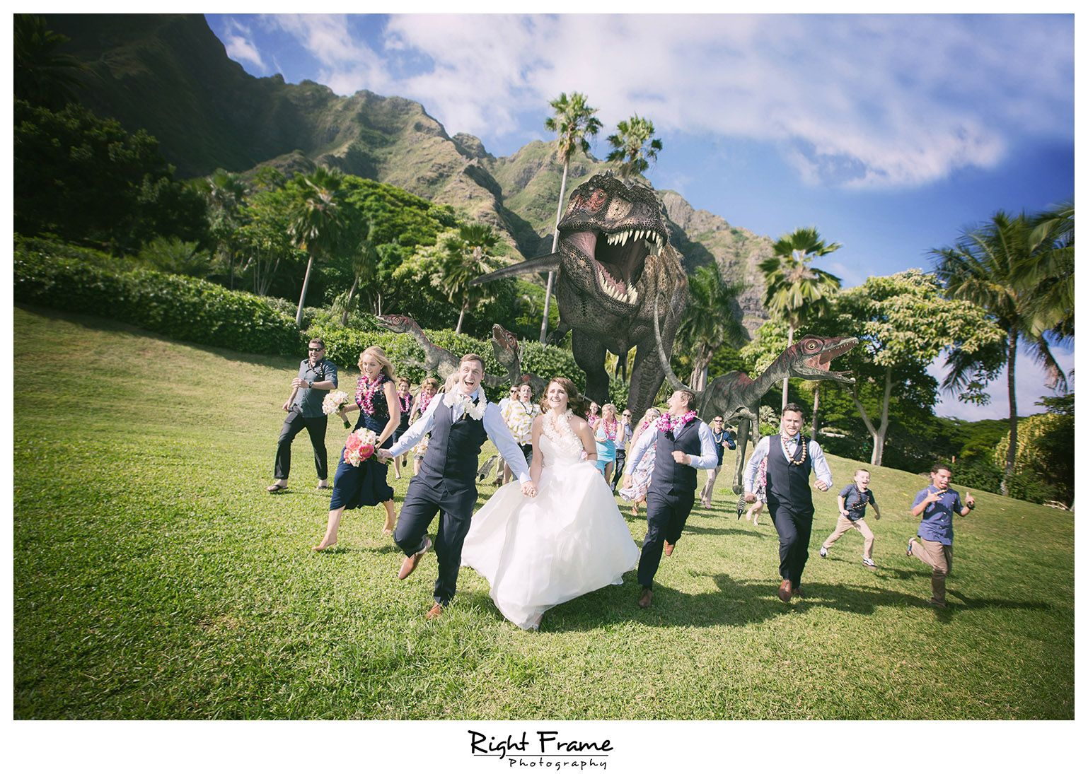 Rightframe Juric Park Dinosaurs At Kualoa Ranch Wedding Paliku