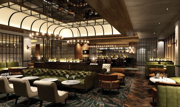 hilton london bankside bar lounge design copper detail reclaimed timber floor leather