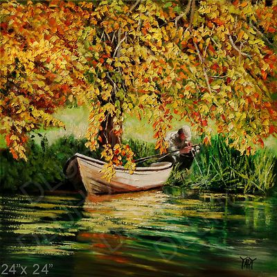 Fly Fishing Angler Boat Lake Autumn 24 Original Modern Oil Painting Yary Dluhos Modern Oil Painting Painting Oil Painting