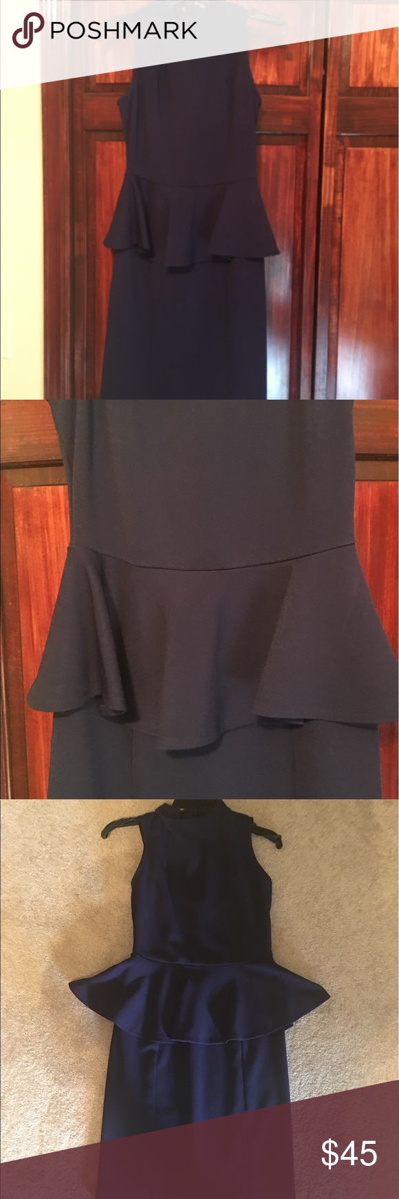 """Cremieux Navy Knit Peplum Dress Looks New Stylish faux turtle neck sleeveless knit dress featuring fitted waist with peplum and straight pencil skirt. Back hidden zipper with peplum and triple seamed skit to make your booty look fabulous. Polyester and spandex worn once to a rehearsal dinner no sign of wear. 36"""" from shoulder to hem Daniel Cremieux Dresses"""