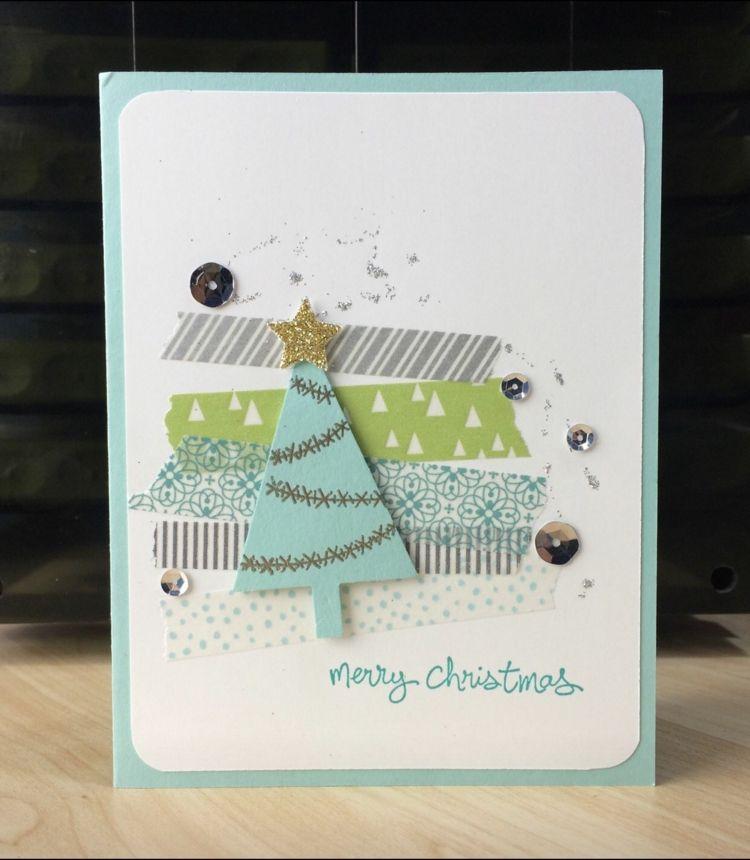 weihnachtskarten mit deko tape basteln tannenbaum perlen. Black Bedroom Furniture Sets. Home Design Ideas