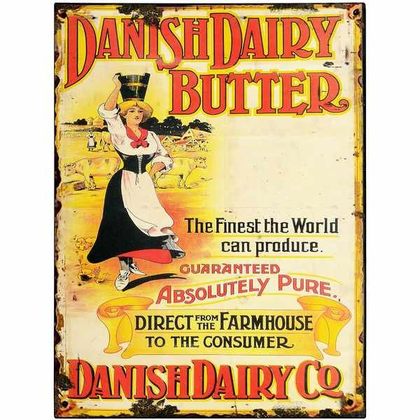 Danish Dairy Butter Tin Sign (9378) | Vintage Tin Signs | Wholesale ...