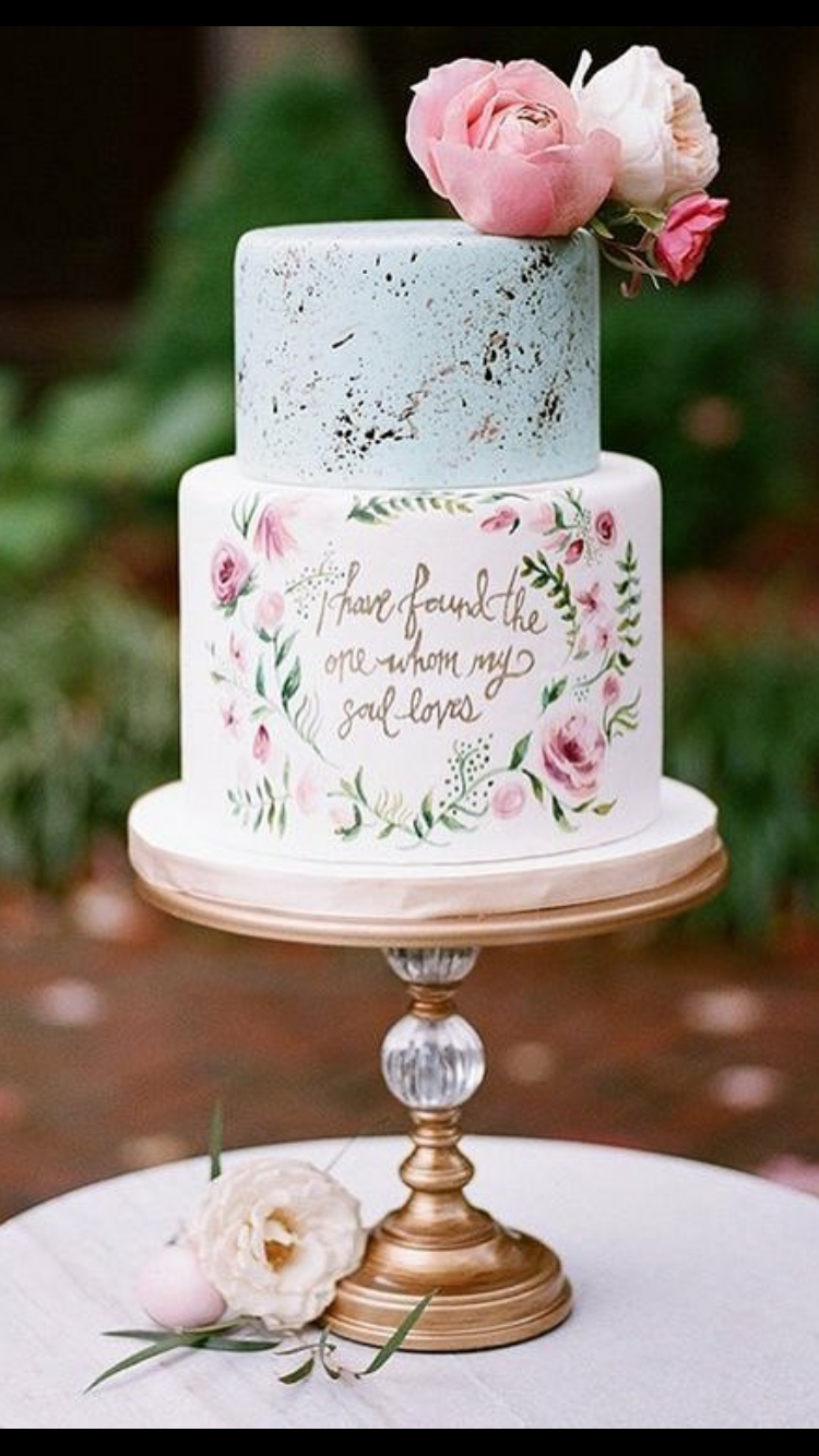 Hand Painted Love Quote Wedding Cake Antique Gold Ball Base Cake Stand Created By Opulent Treasur Painted Wedding Cake Small Wedding Cakes Mini Wedding Cakes