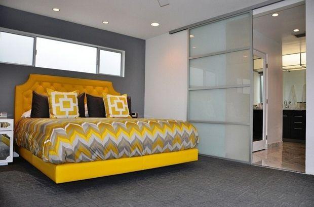 Chambre grise et jaune - 25 exemples élégants | Chambre grise, Jaune ...