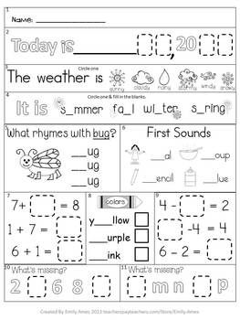 Worksheets Daily Morning Work 1st Grade first grade morning work school pinterest mornings august freebie