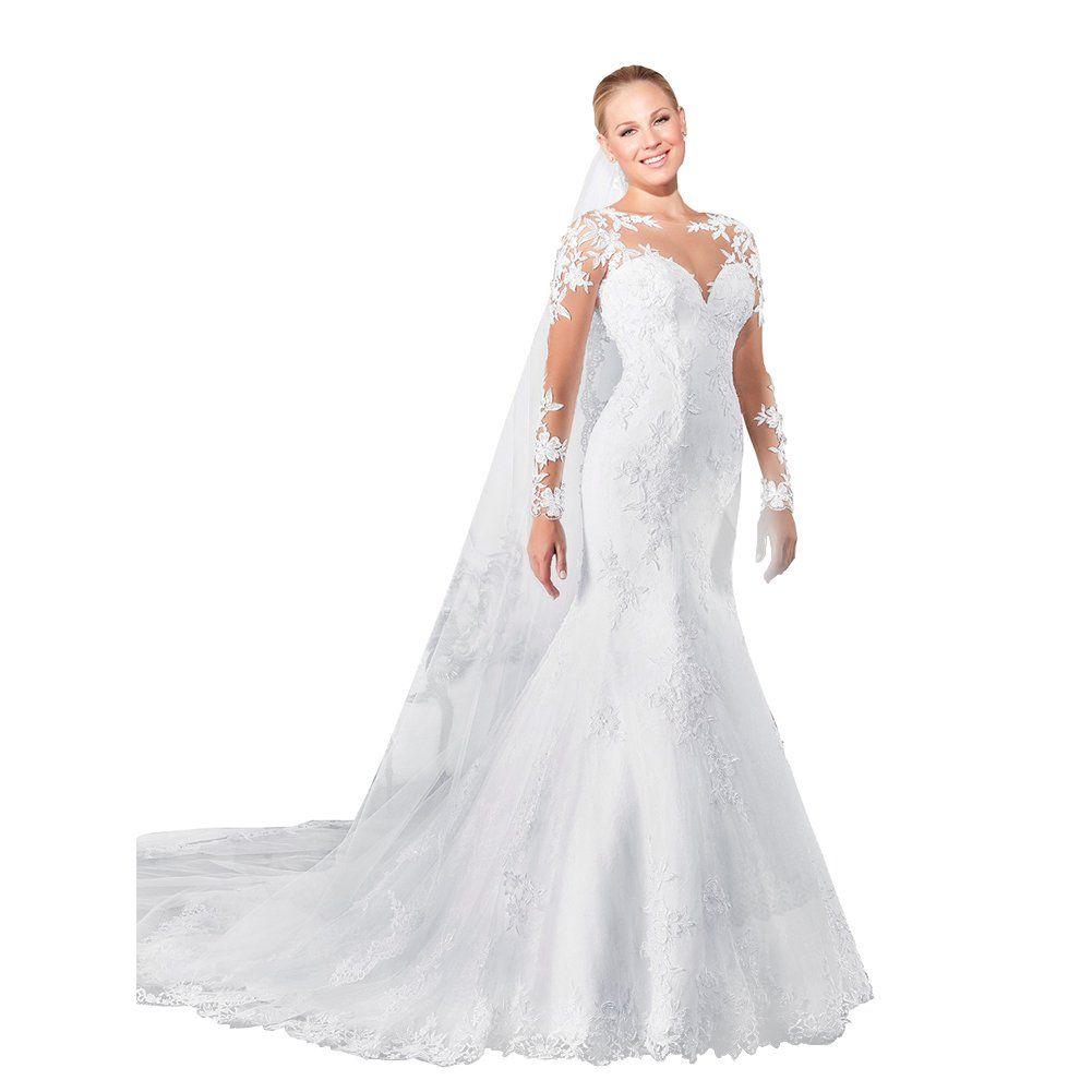 Joyvany women long sleeve mermaid wedding dress sexy back lace