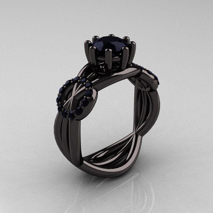 Modern Bridal 14K Black Gold 10 CT Black Diamond Designer