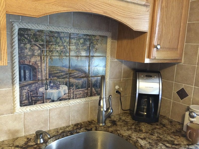 Decorative tile backsplash - Kitchen tile ideas - SK - Vineyard Terrace - Tile Mural