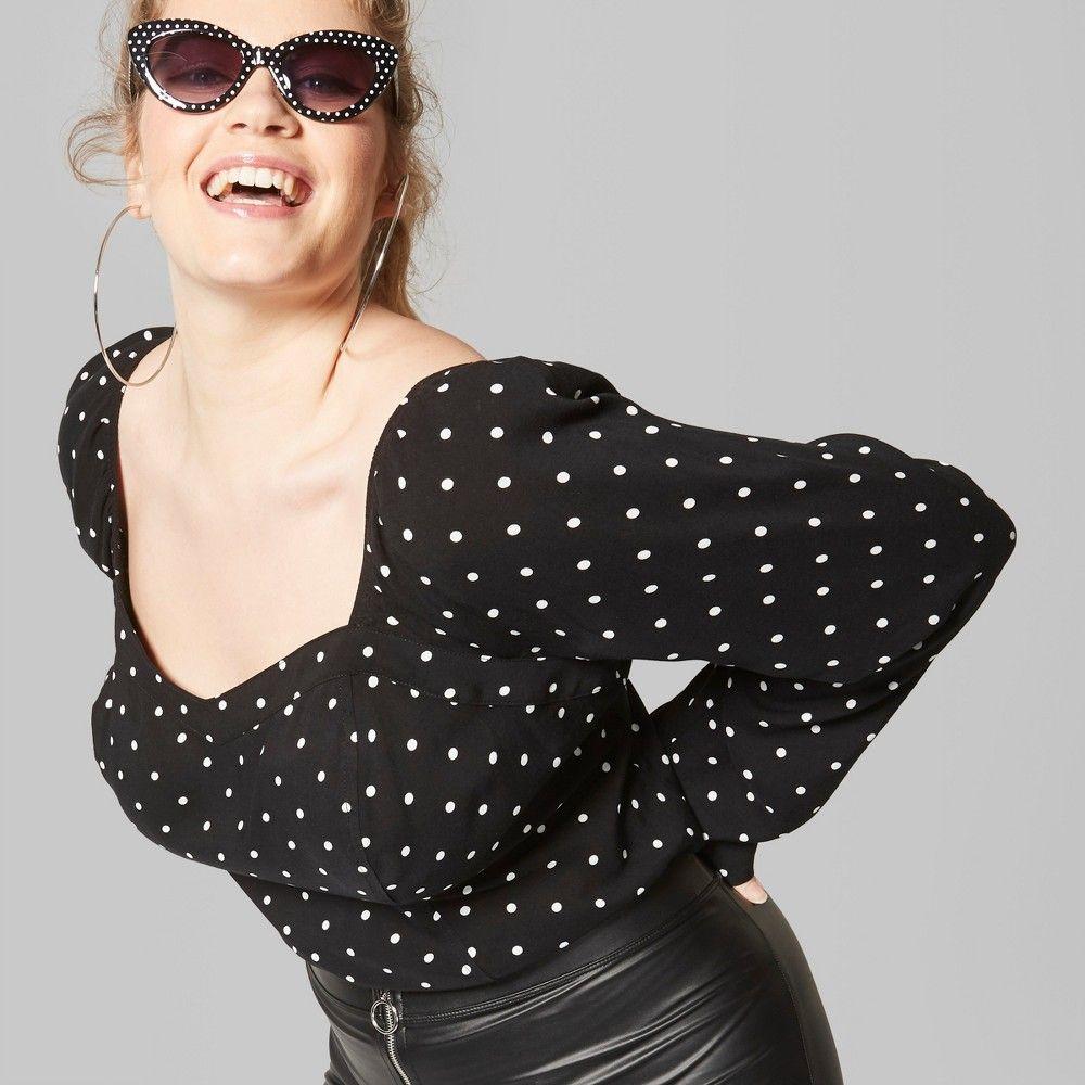 68757280ff6 Women s Plus Size Polka Dot Long Sleeve Sweetheart Neckline Woven Top -  Wild Fable Black 1X