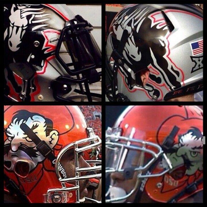 Texas tech vs Oklahoma state helmets worn tonight