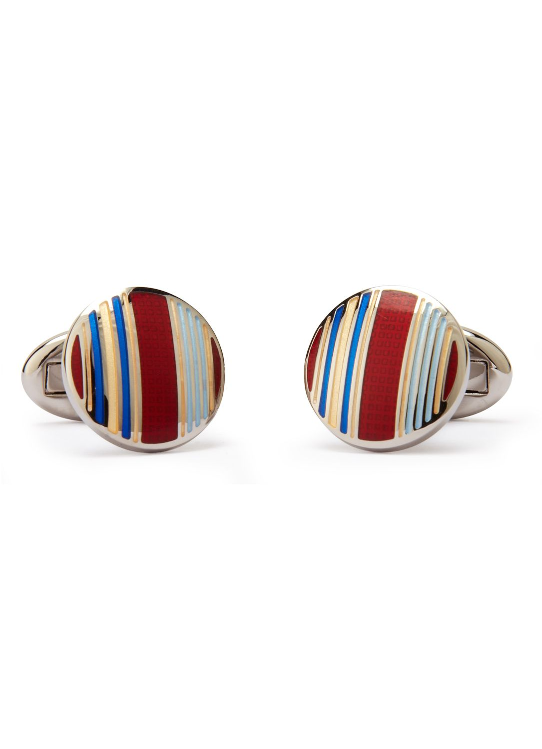 110th Anniversary Blue Red Stripe Circle Cufflinks Austin Reed Red Stripe Cufflinks Austin Reed