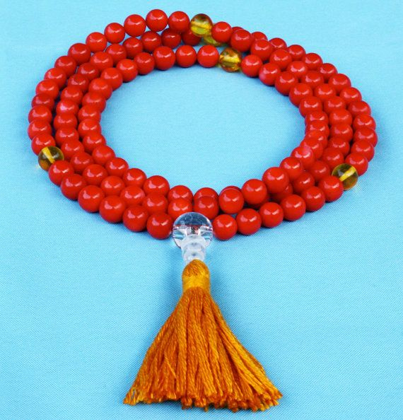 Small Coral Pocket Mala with Amber Quartz and by compassionmalas