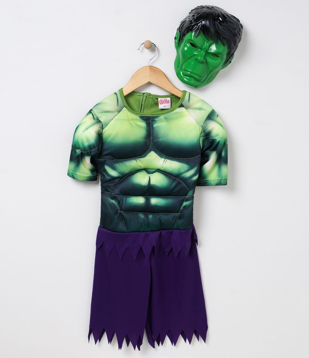 51586c5e571e45 Fantasia Infantil Macacão curto Com estampa Hulk Acompanha mascara ...