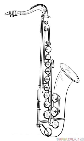 Dessin Saxophone comment dessiner saxophone | etape par étape dessin tutoriels | jazz