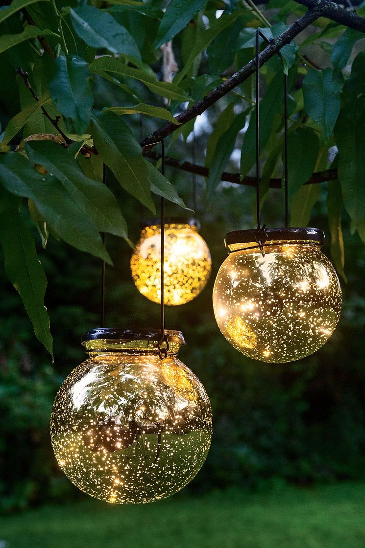Solar globe lights fairy dust ball for Outdoor decorating with solar lights