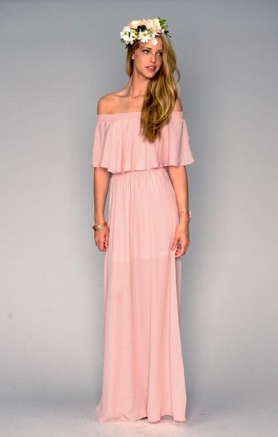 f3dae028796 Ruffled off-the-shoulder maxi gown in a pretty pink color ...