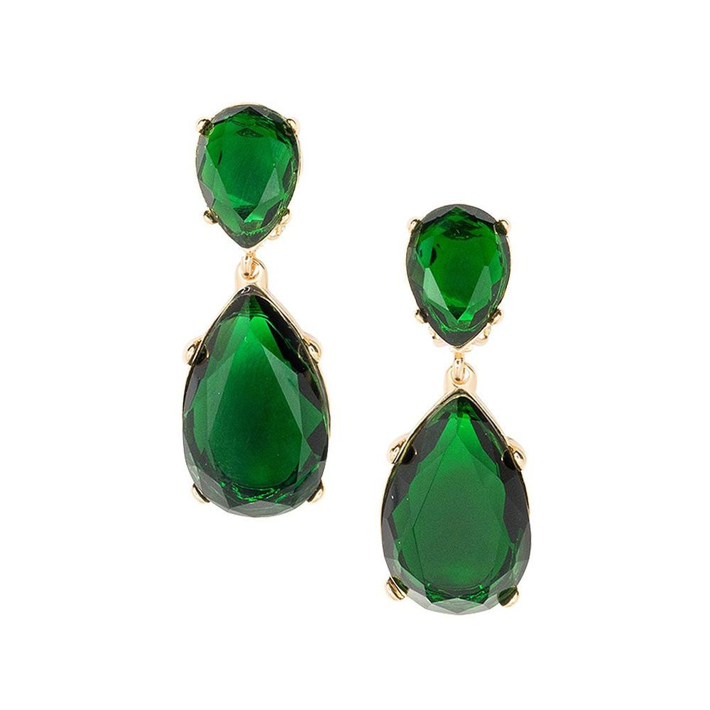 Kenneth Jay Lane Angelina Gold Emerald Crystal Teardrop Clip Earrings Ebay Link