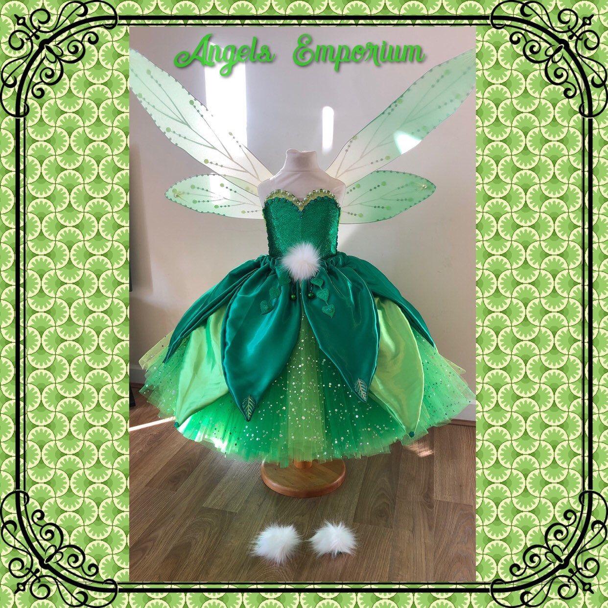 Luxury Tinkerbell Inspired Tutu Dress Emerald Green Woodland Etsy Fairy Princess Costume Tinkerbell Dress Tutu Dress [ 1242 x 1242 Pixel ]