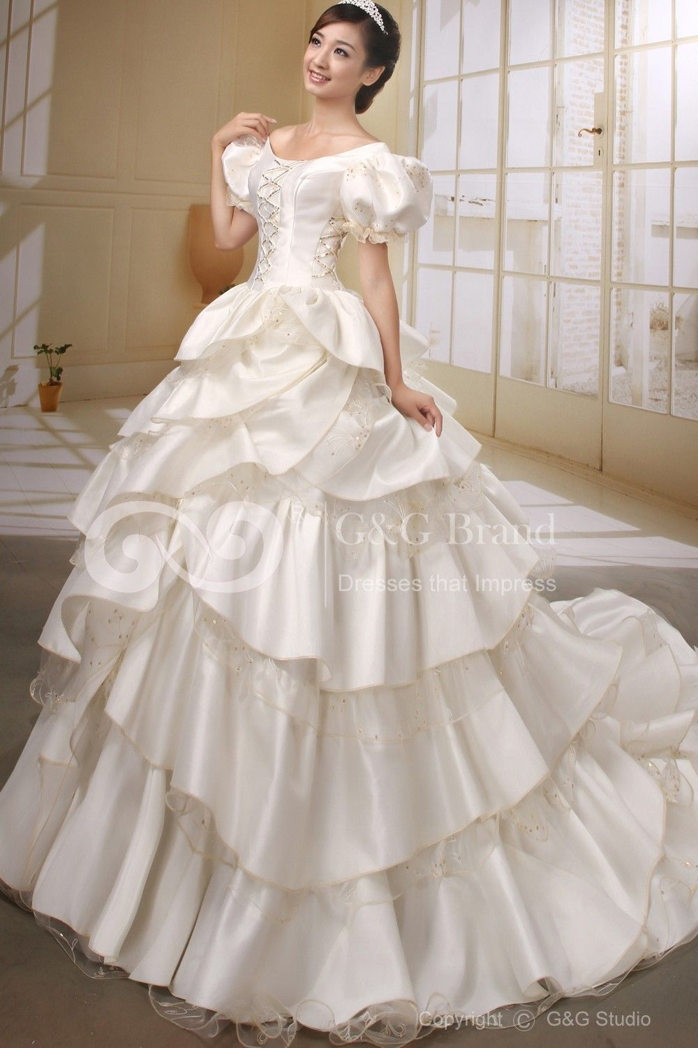 Off the shoulder ball gown wedding dresseslacetieredruffles