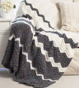 Bernat Soft Boucle Ripple Blanket Knit Pattern Free Easy