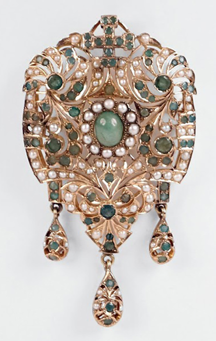 14 KARAT YELLOW GOLD, EMERALD, AND PEARL BROOCH / PENDANT.