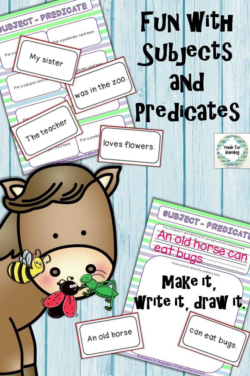 Subjects and Predicates Unit 1 Understanding Sentence Parts ...
