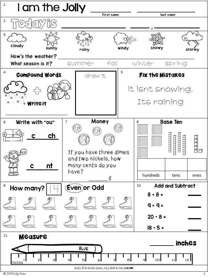 Morning Work Second Grade December Packet Morning Work Math