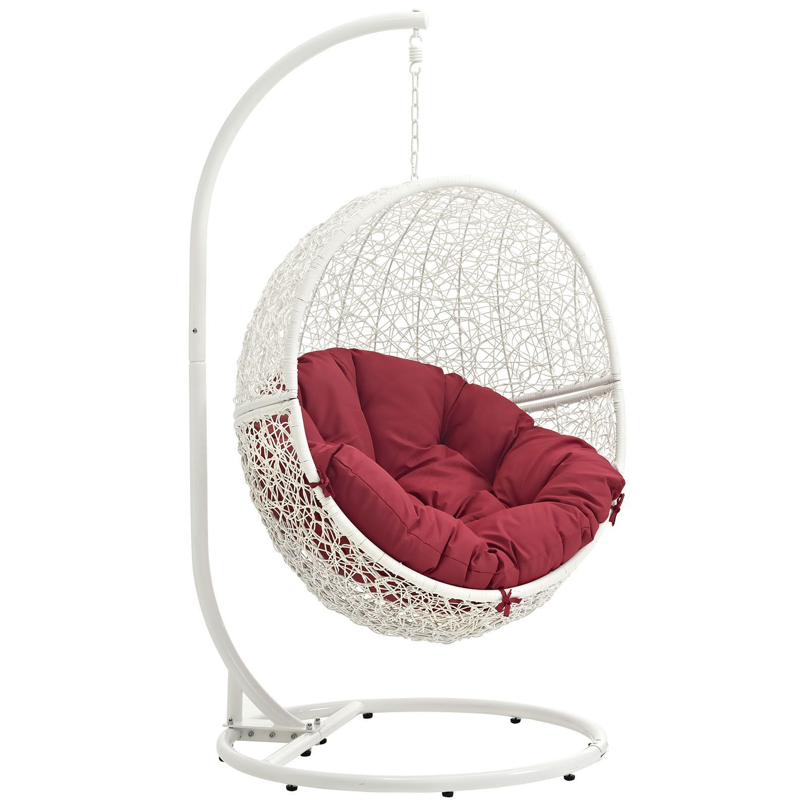 Hide Outdoor Patio Swing Chair With Stand White Red