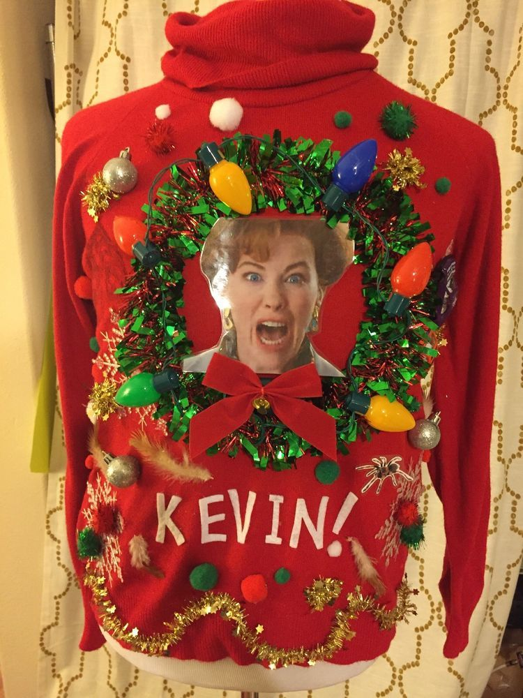 Ashleys Ugly Christmas Sweater Tacky Home Alone Kevin Lights Up Ml