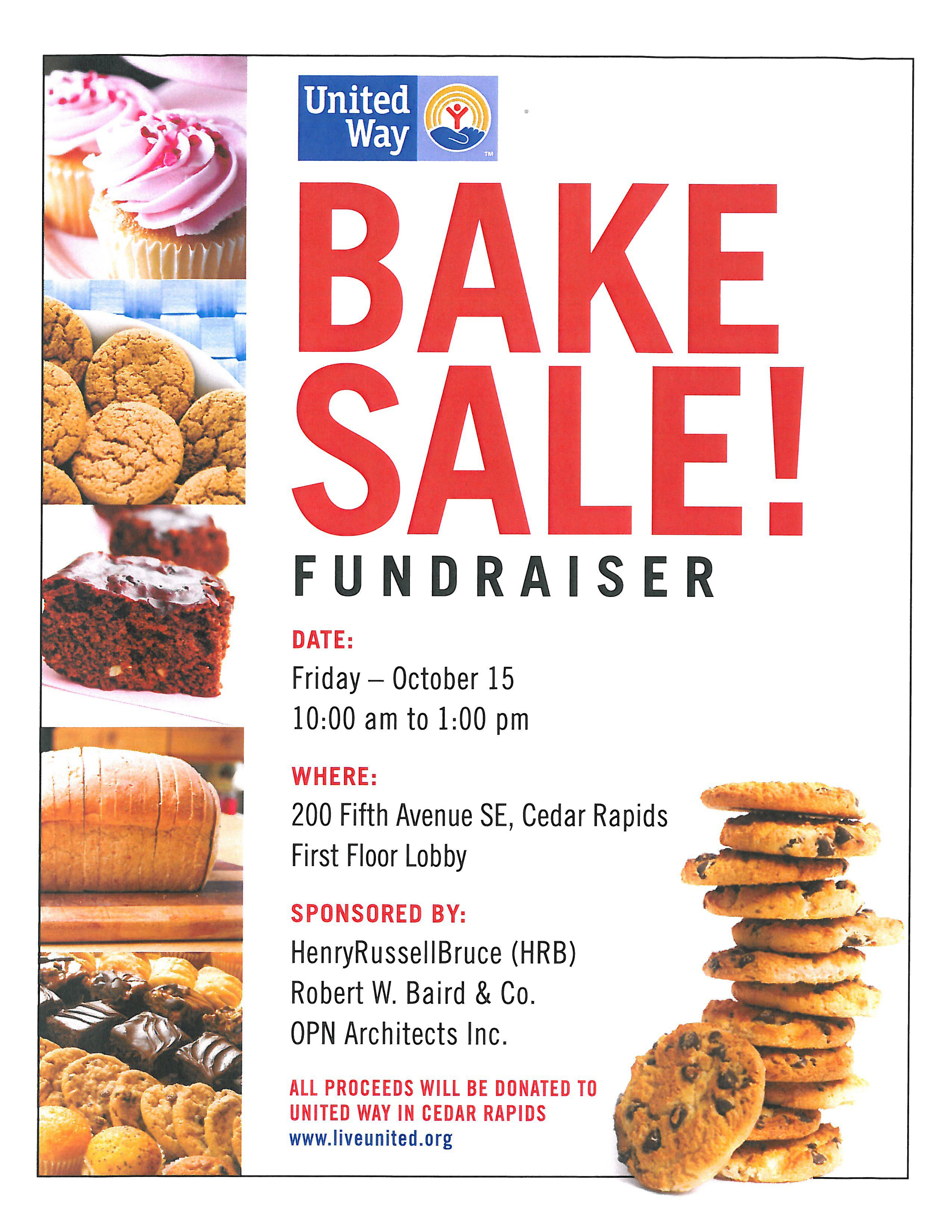 bake sale flyer united way fundraising activities fundraisers