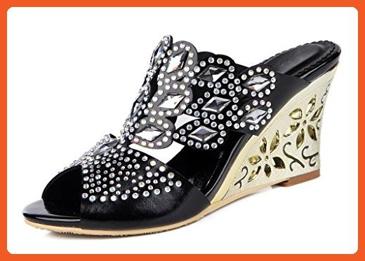 9e6c2eb8447567 Jiandick Womens Rhinestone Crystal Beading Wedges Sandals Slingback Dress  High Heel - Sandals for women (