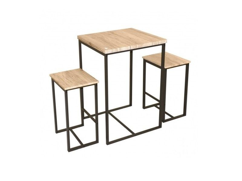 Table Haute Carree Avec Tabourets Chicago Vente De Bar Et Tabouret De Bar Conforama En 2020 Avec Images Table Haute Carree Table Haute Bois Table Haute