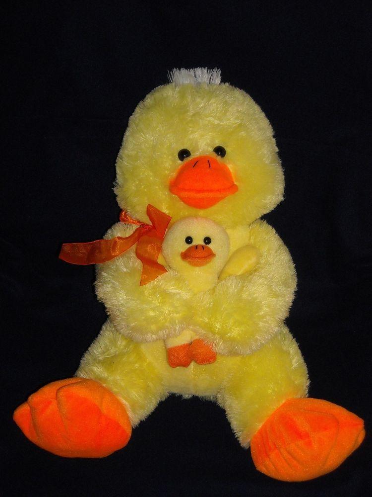 Large 19 Yellow Mom N Baby Duck Goffa Stuffed Animal Plush Easter