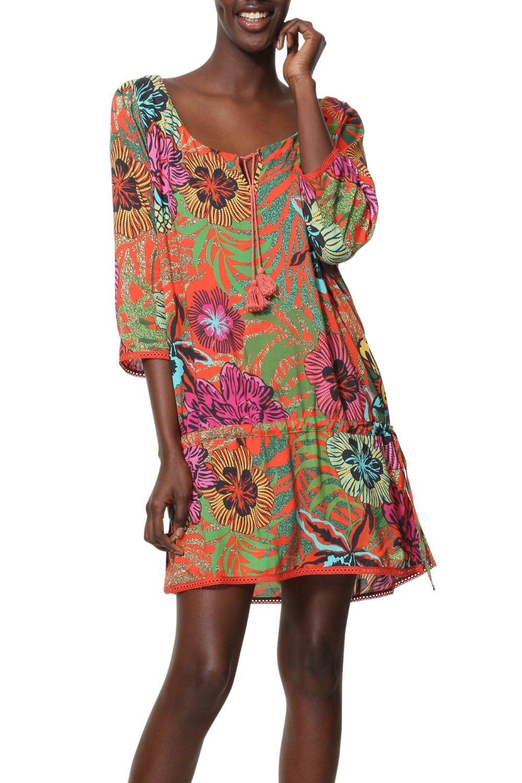 a5d79e8524 Desigual színes nyári ing Top Minowa - A fürdőruhákhoz nagyon jól mutat ez  a Desigual ing, egyedi laza és könnyű. Oldalán összeköthetô, pom pom  díszítéssel.