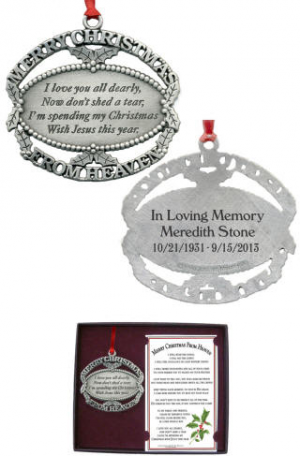 personalized merry christmas from heaven ornament memorial ornaments this pewter finish merry christmas from heaven ornament and poem card is a