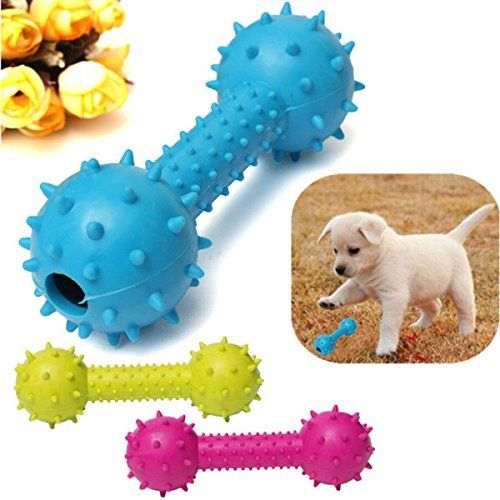 Pet Dog Rubber Barbell Dental Teeth Cleaning Chew Play Toy To