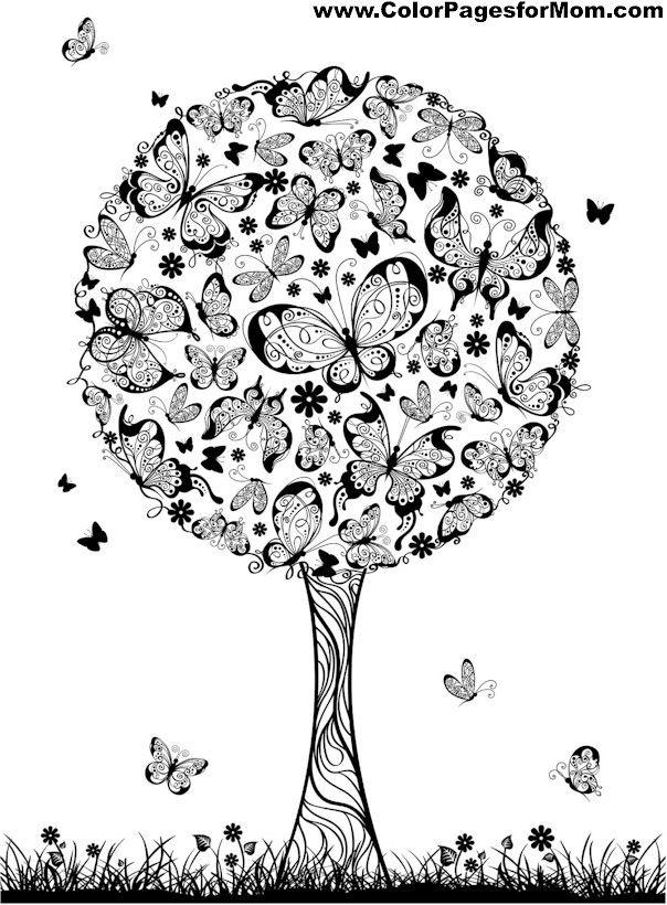 tree coloring page 6   Printables   Pinterest   Mandalas, Colorear y ...