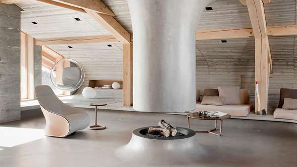 Love the space, crazy about the rising molded concrete fireplace solution. Simply amazing