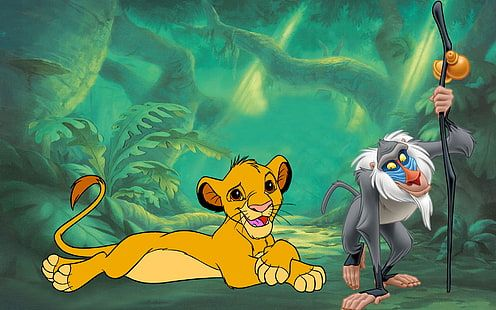 HD wallpaper: The Lion King Simba And Rafiki Photo Hd Wallpaper 1920×1200