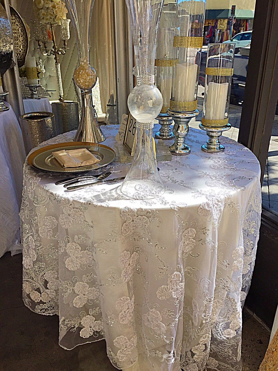 Wedding Tablecloth Vintage White Embroidered Lace Silver Sequence Overlay