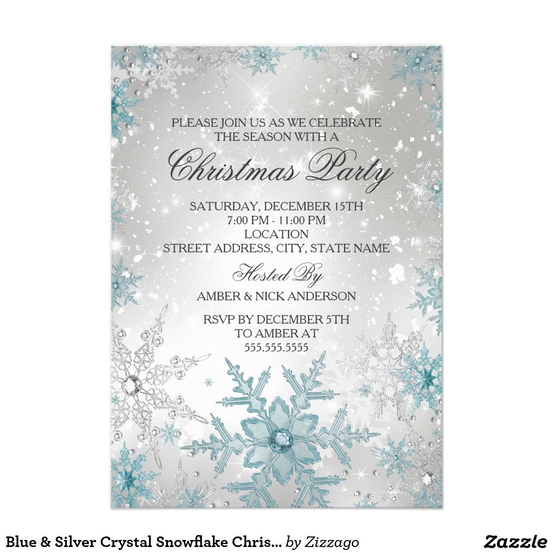 Blue silver crystal snowflake christmas party card blue silver crystal snowflake christmas party 5x7 paper invitation card stopboris Choice Image