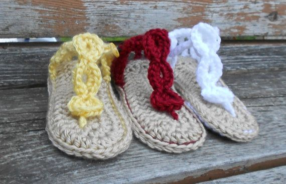 39c3d46132c706 Baby Beach Sandals - Crocheted Baby Shoes - 0 to 18 month sizes available -  MADE TO ORDER