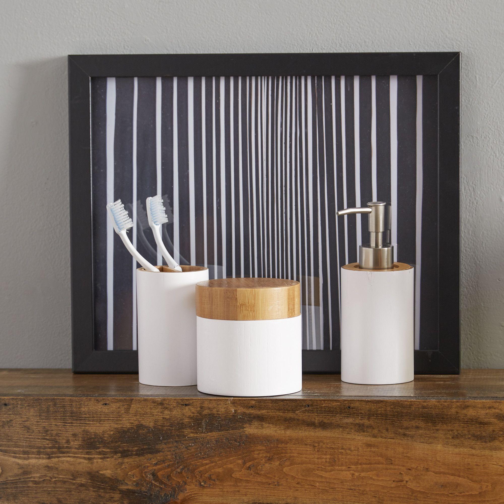 Piece Elana Bathroom Set Bamboo Bathroom Bathroom Accessories
